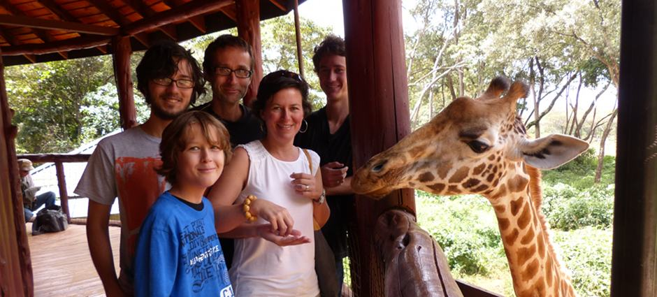Family in Nairobi at Giraffe Center
